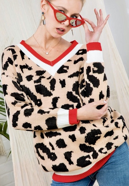 Red Color Block Leopard Sweater