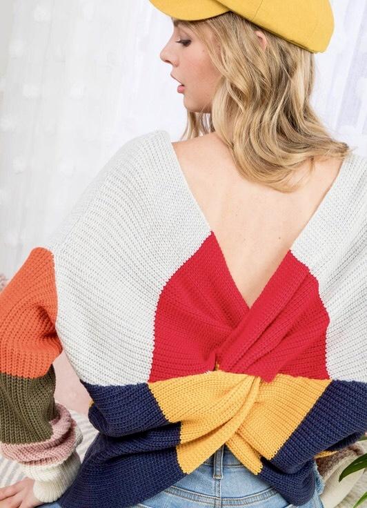 Multi Fall Color Block Twist Sweater
