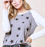 Grey Star Printed Knit Top