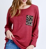 Earth Red Leopard Print Pocket Top