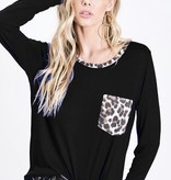 Black Jersey Knit Leopard Pocket Top