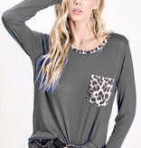 Charcoal Jersey Knit Leopard Pocket Top