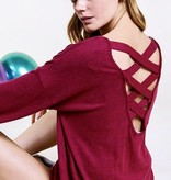 Burgundy Caged Back Sweater