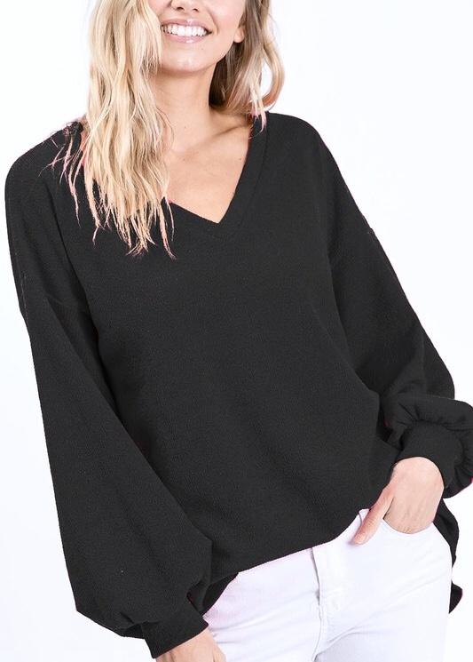 Black Balloon Sleeve Knit Sweater Top