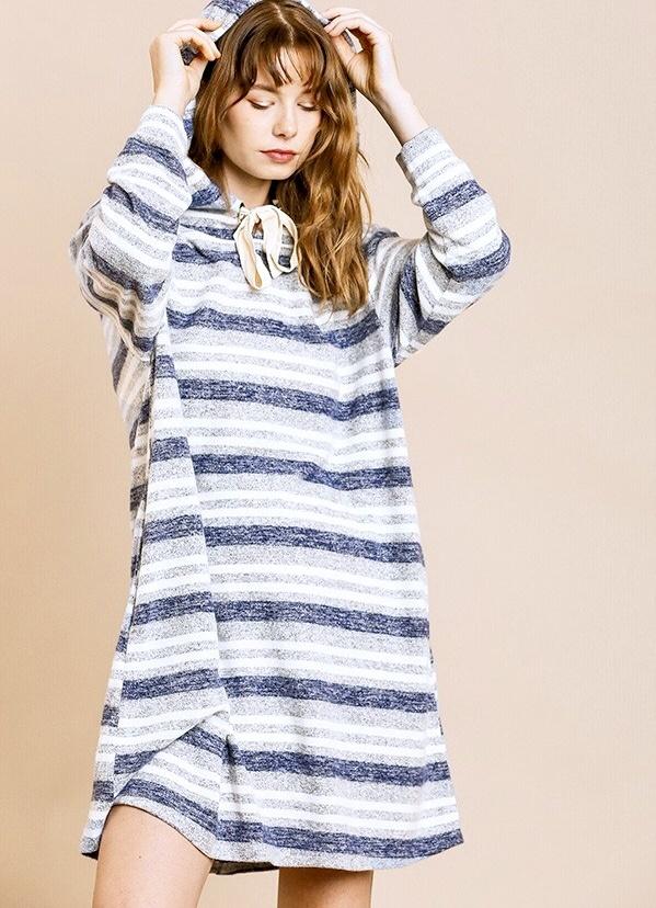 Blue Mix LS Hooded Dress