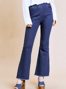 Dark Denim High Waist Crop Flare Jean