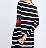 Black Striped Dress W/ Elbow Patch