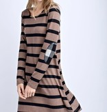 Mocha Striped Dress W/ Elbow Patch