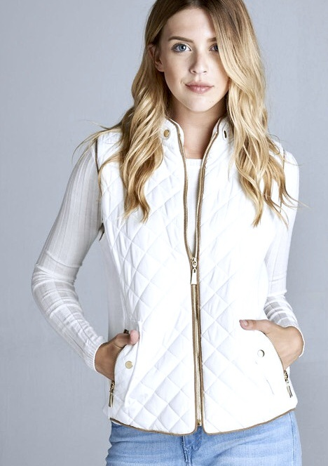 White Quilted Vest