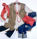 Mocha Military Cargo Vest with Hood
