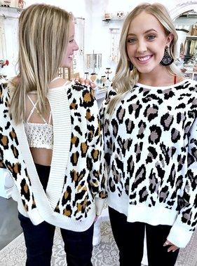 Beige Open Back Leopard Sweater
