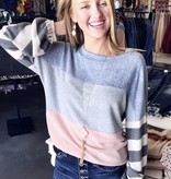 Blue/Pink Color Blocked Sweater
