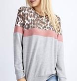 Leopard/Pink LS Color Block Top