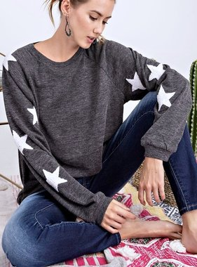 Charcoal LS Top with Star Sleeve