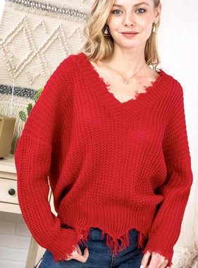 Red Distressed V-Neck Sweater