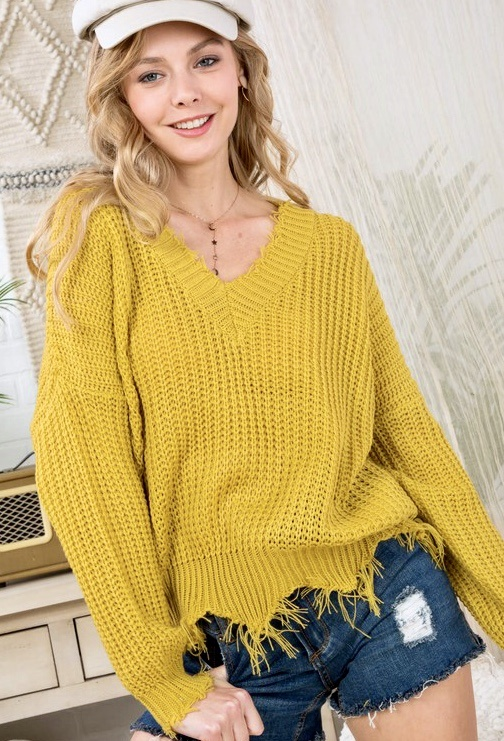 Dusty Gold Distressed V-Neck Sweater