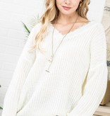 Cream Distressed V-Neck Sweater