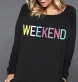 """WEEKEND"" Graphic Sweater Black"