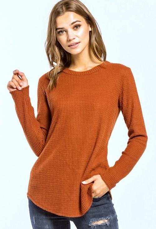 Brick LS Knit Top