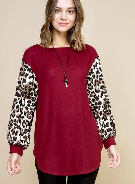 Burgundy Dark Leopard Contrast Sleeve Top