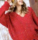Red Distressed Crop Color Pop Sweater
