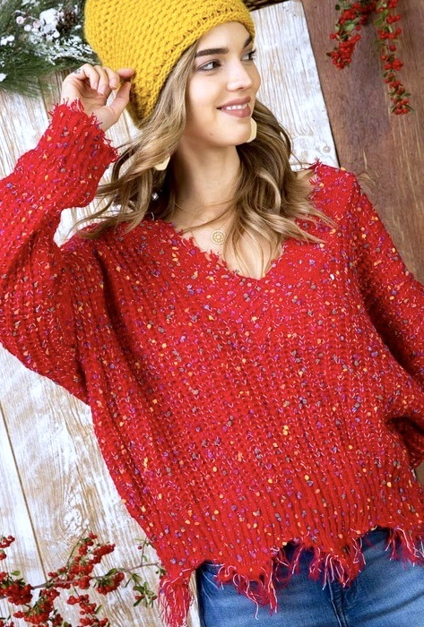 Red Distressed Crop Color Pop Sweater