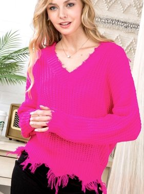 Neon Pink Distressed V-Neck Sweater