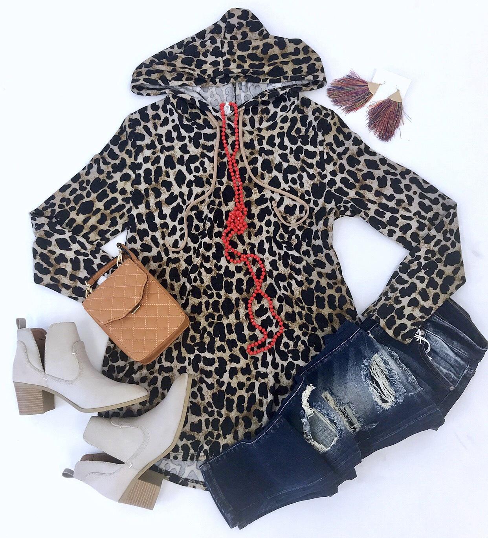 Hooded Leopard Print Sweater