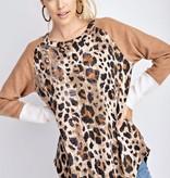 Camel/White Leopard LS Top