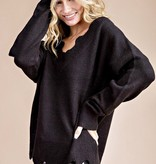 Scalloped LS Black Sweater