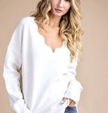 Scalloped LS Cream Sweater