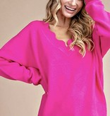 Scalloped LS Hot Pink Sweater