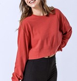 LS Cropped Sweater Indie Red