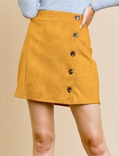 Spicy Mustard Suede Mini Skirt