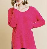 Hot Pink LS Popcorn Pullover