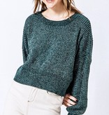 LS Cropped Knit Sweater Green