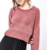 LS Cropped Knit Sweater Red