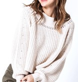 Balloon Sleeve Knit Sweater Ecru