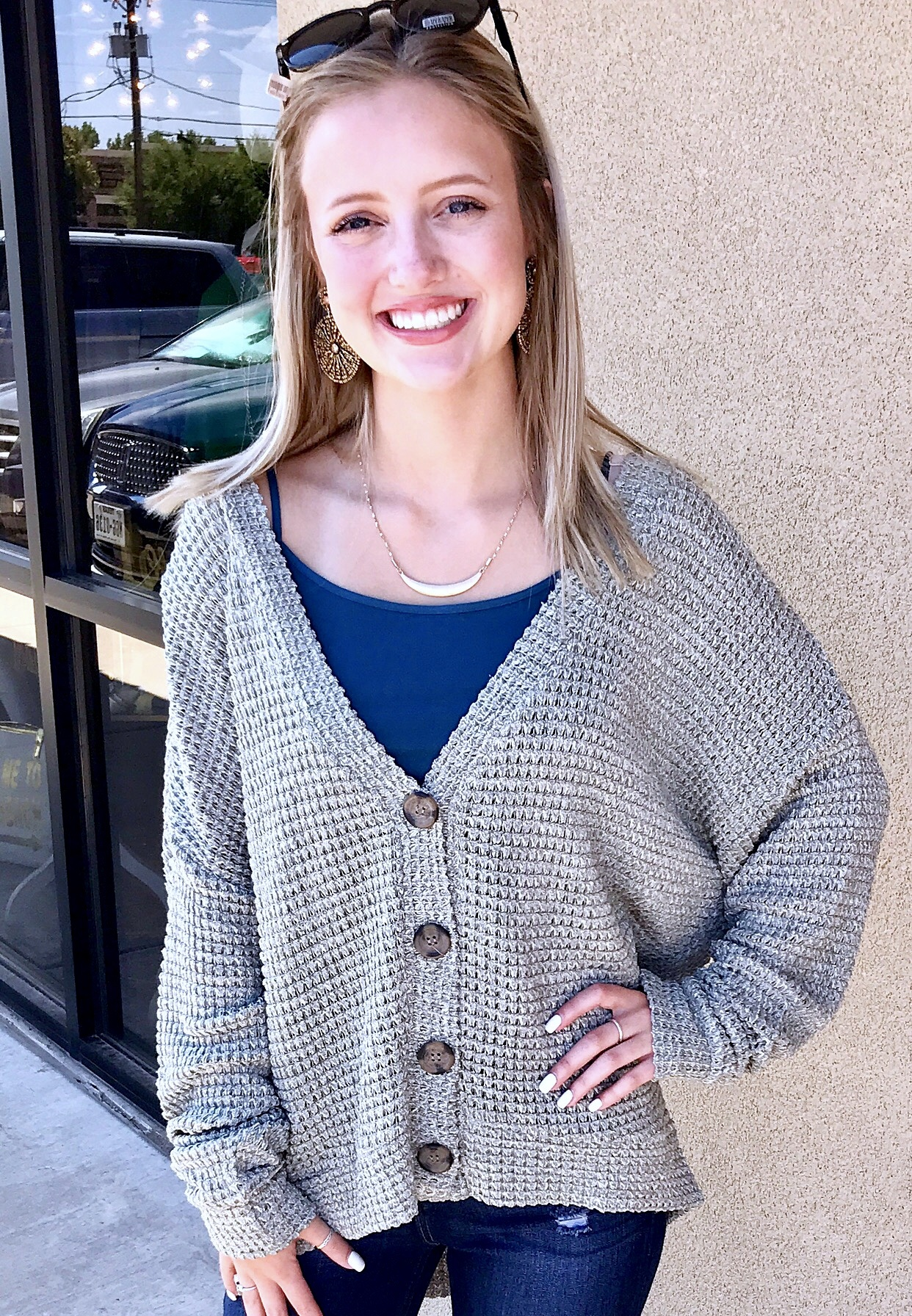Study Days Button Up Sweater Smoke Green