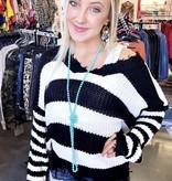 Black/White Frayed V-Neck Sweater