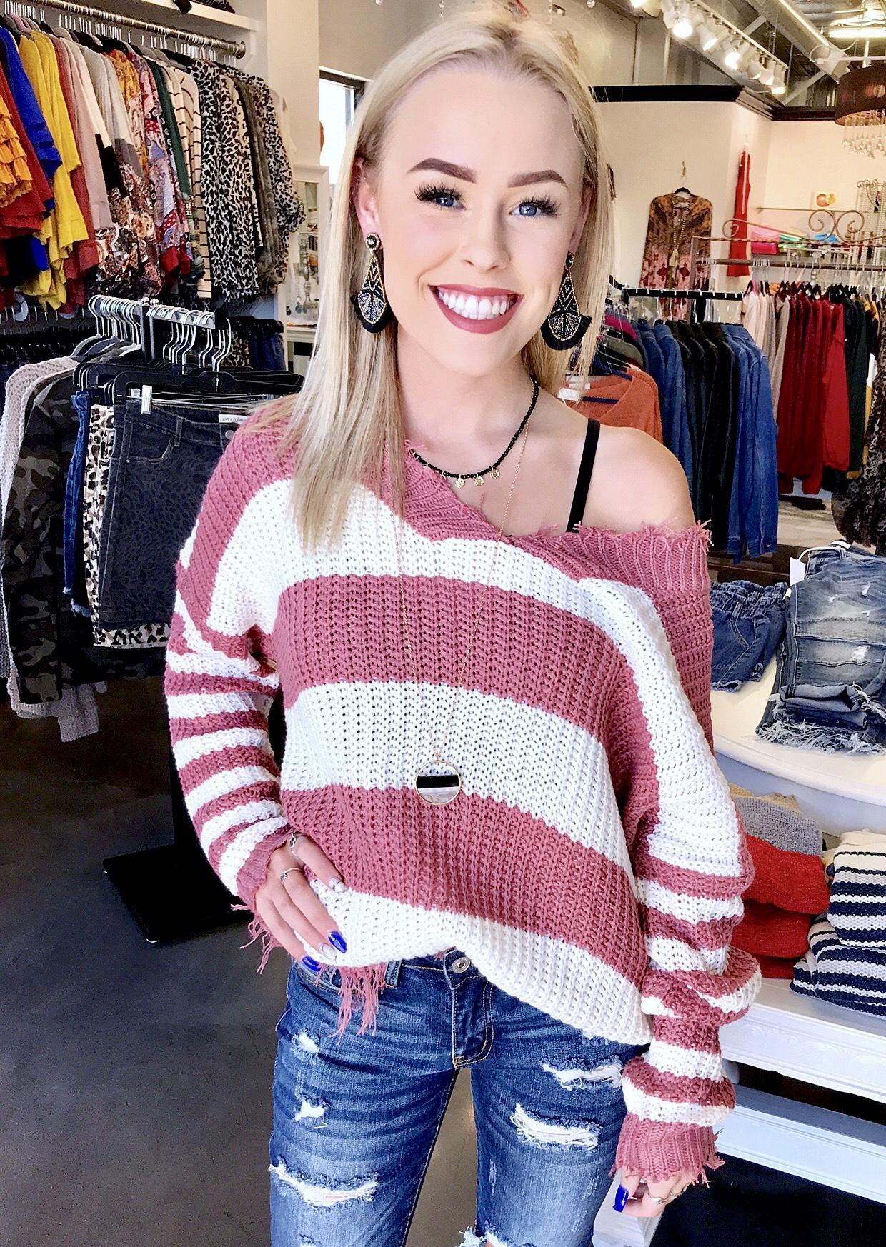 Dusty Rose/White Frayed V-Neck Sweater