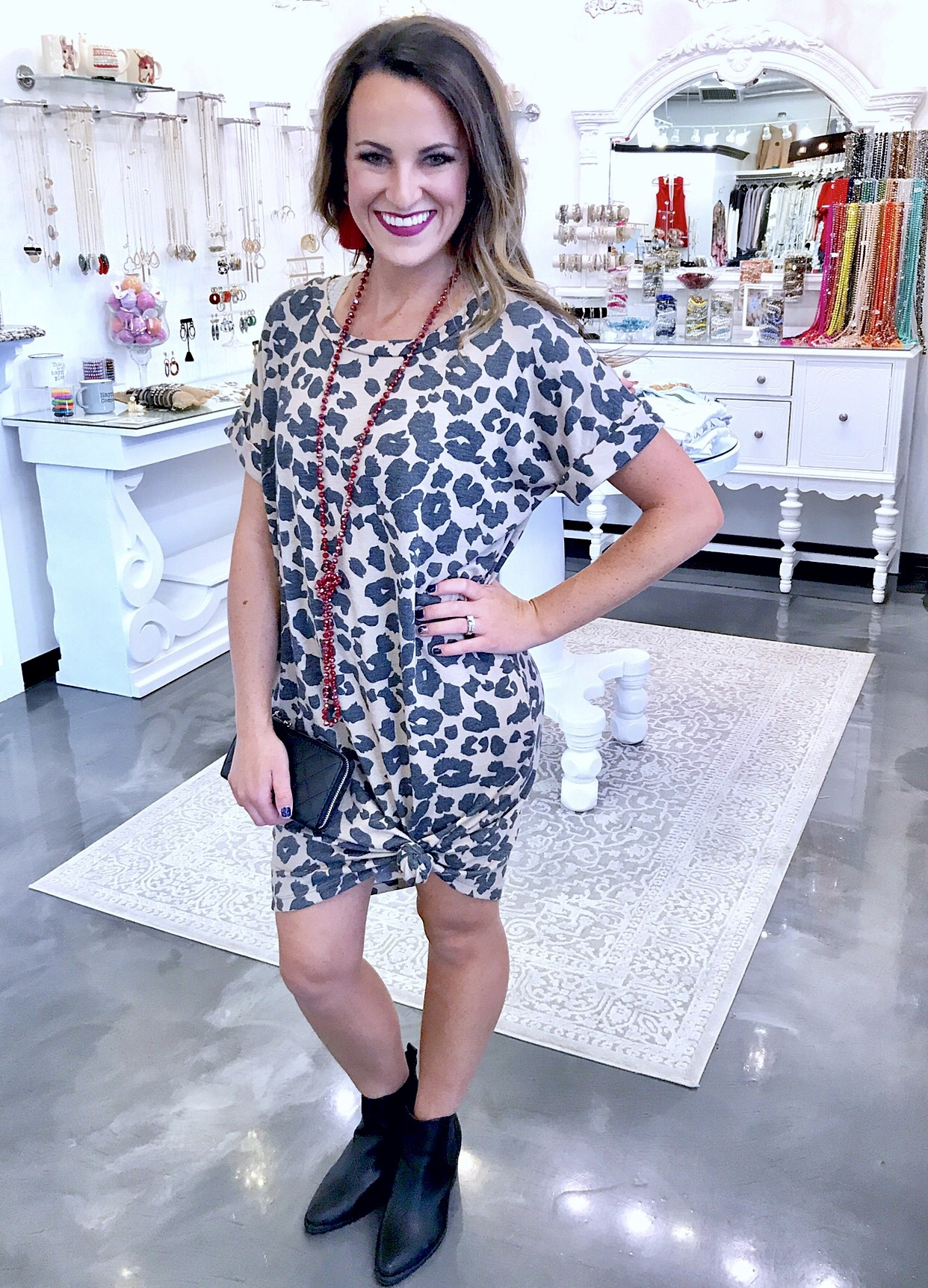 Taupe SS Leopard Print Dress