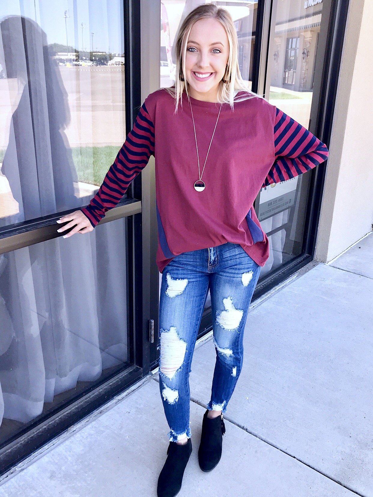 Burgundy Striped Solid Long Sleeve Top