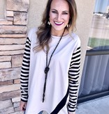 Taupe Striped Solid Long Sleeve Top
