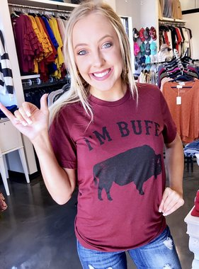 """I'm Buff"" Maroon Color T-Shirt"