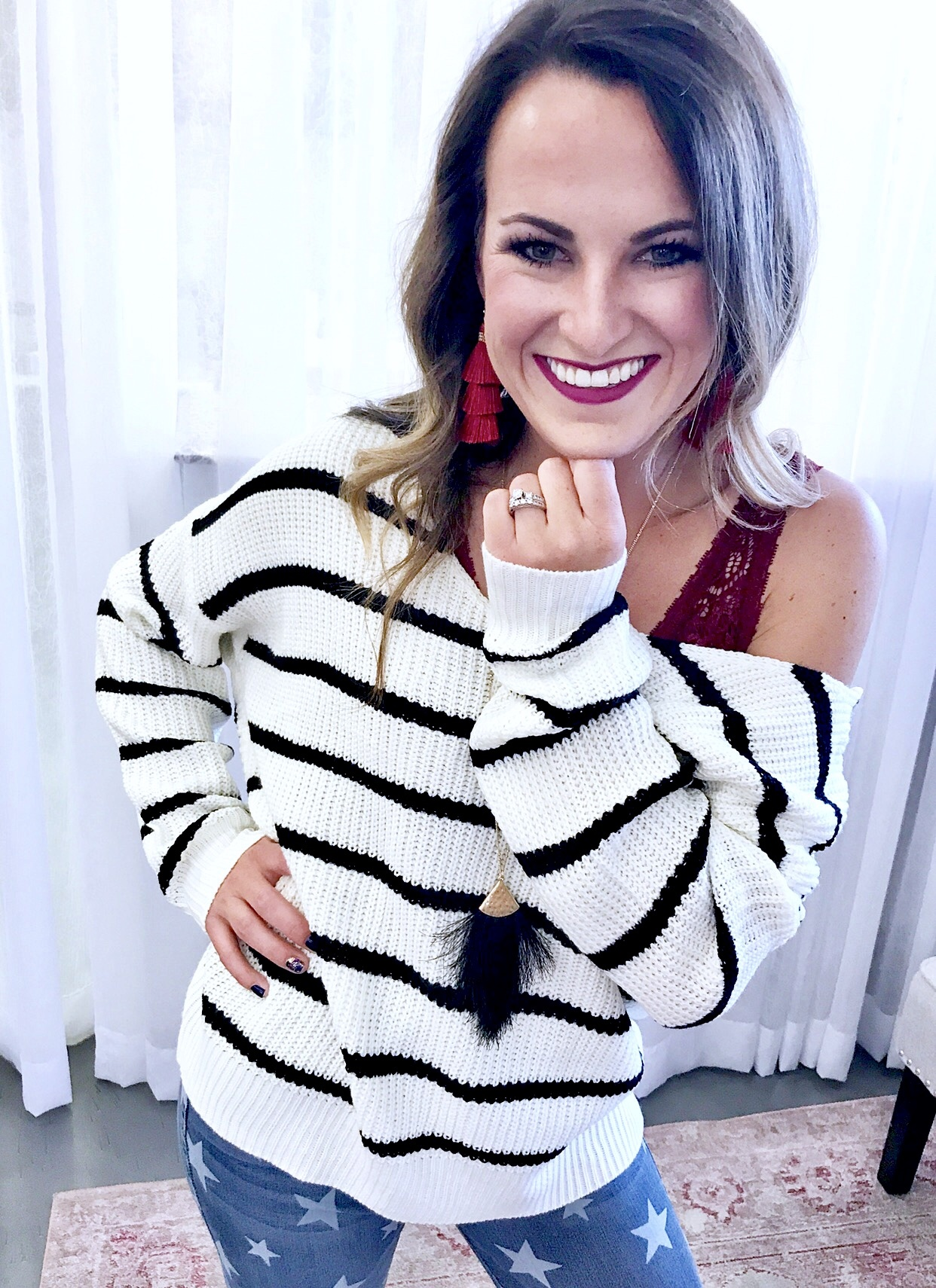 White/Black Striped Twisted Sweater