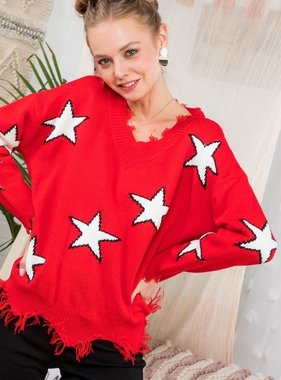 Red Star Print Distressed Sweater