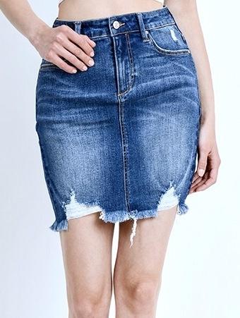 Medium Wash Mid-Rise Skirt