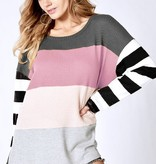 Mauve/Blush/Grey Mix LS Top