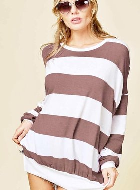 Chilly Nights Mocha and White Striped Sweater